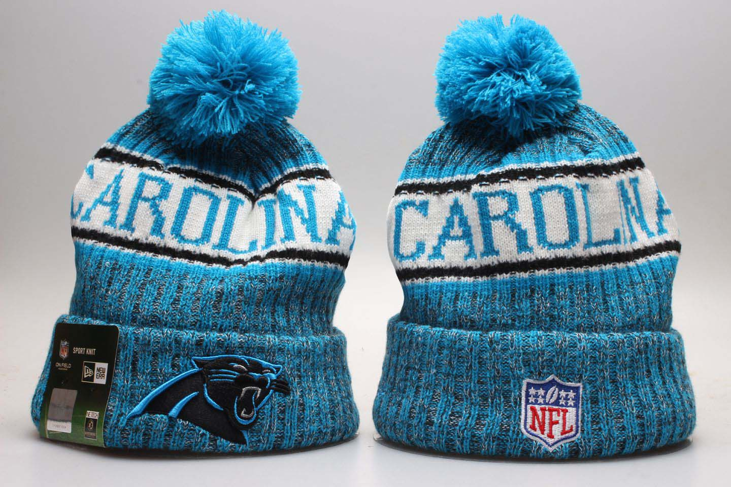 Panthers Blue Wordmark Cuffed Pom Knit Hat YP
