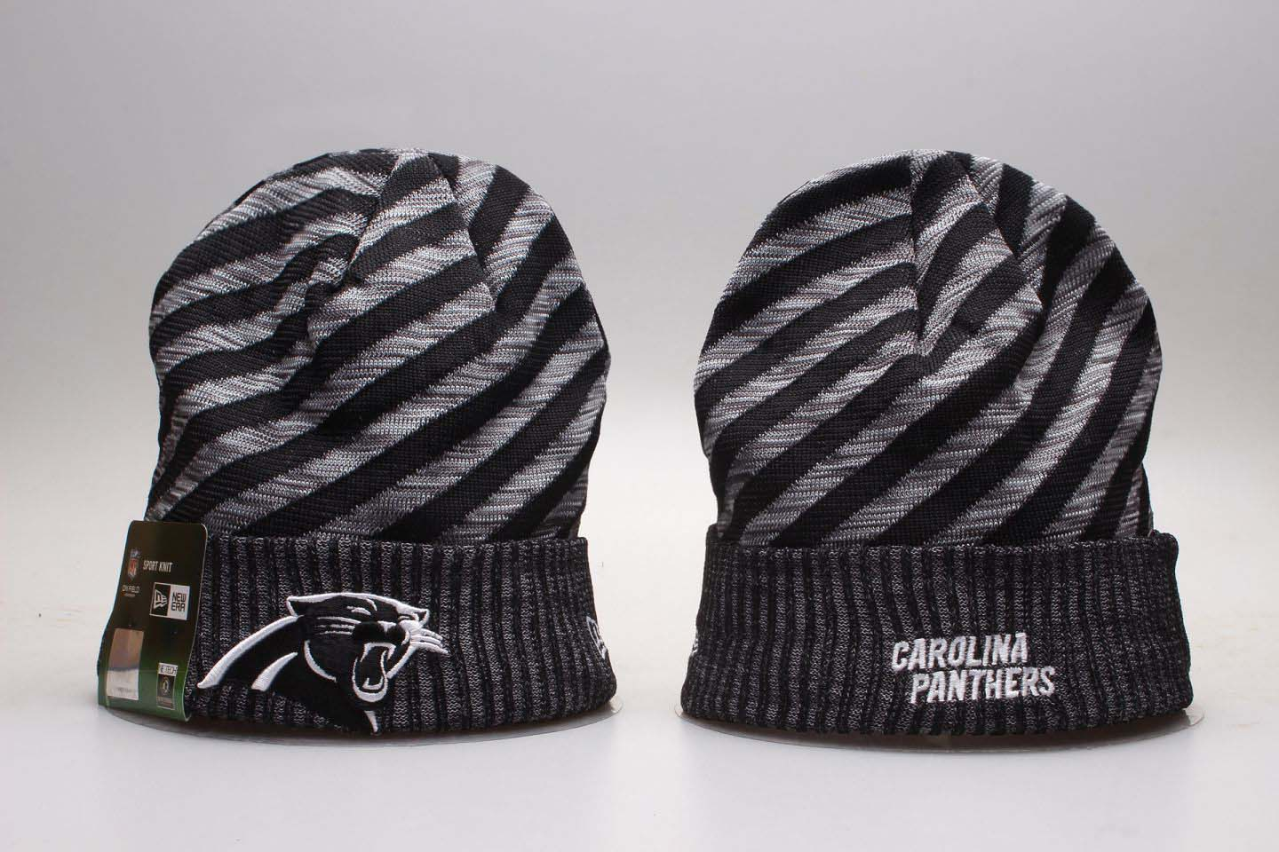 Panthers Fresh Logo Stripe Cuffed Knit Hat YP