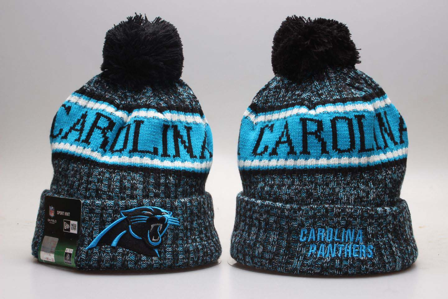 Panthers Gray Wordmark Cuffed Pom Knit Hat YP