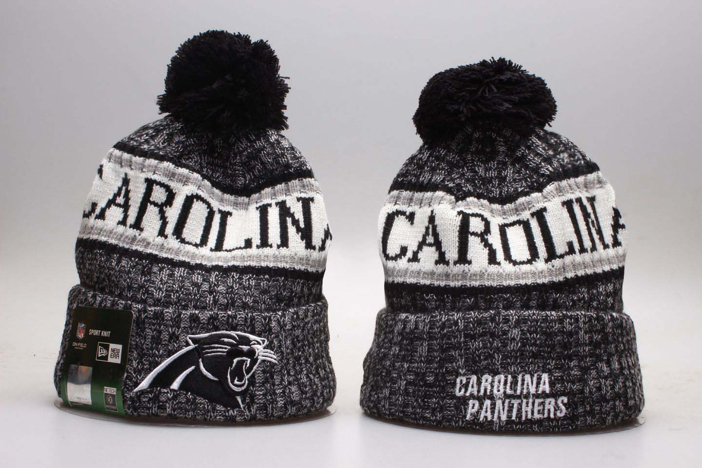 Panthers Team Wordmark Cuffed Pom Knit Hat YP