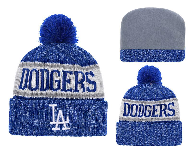 Dodgers Team Logo Royal White Cuffed Knit Hat With Pom YD