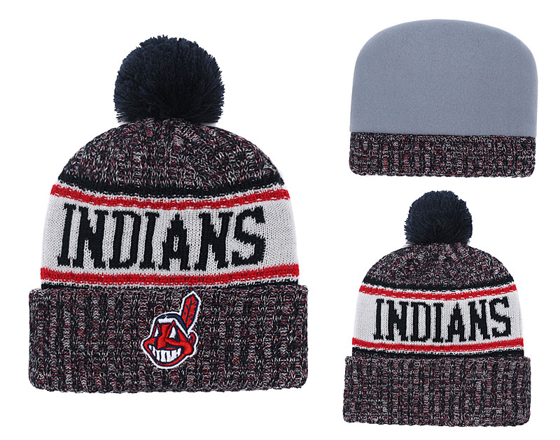 Indians Team Logo Red White Cuffed Knit Hat With Pom YD