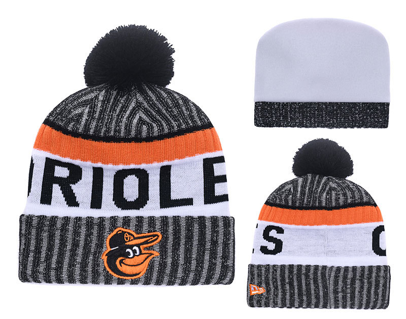 Orioles Black Banner Block Cuffed Knit Hat With Pom YD