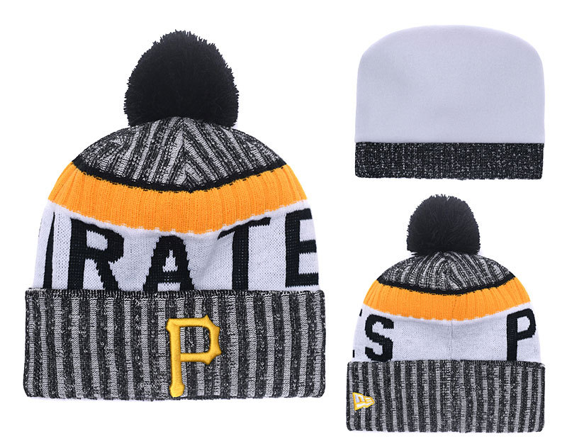 Pirates Team Logo Gray Cuffed Knit Hat With Pom YD