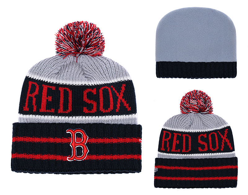 Red Sox Team Logo Black Red Knit Hat YD