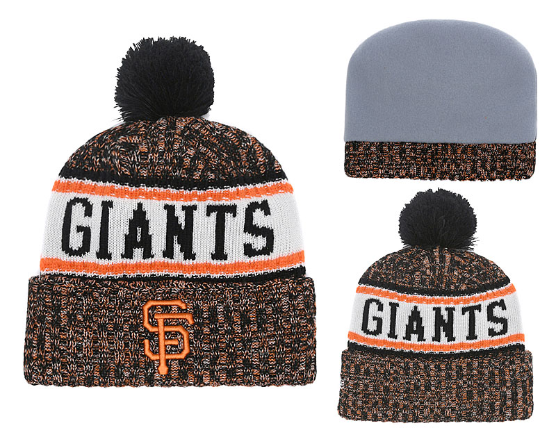 SF Giants Team Logo Yellow Cuffed Knit Hat With Pom YD