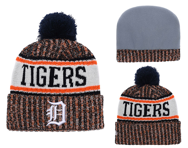 Tigers Team Logo Red Cuffed Knit Hat With Pom YD