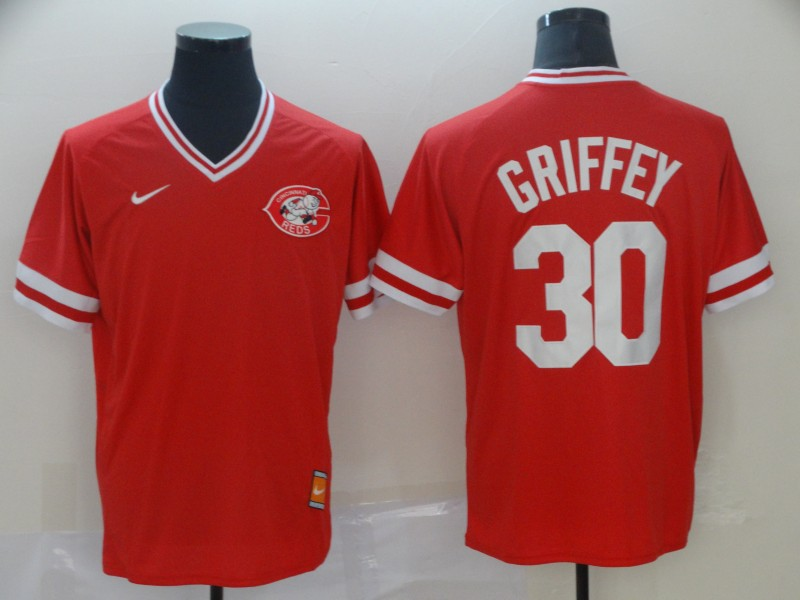Reds 30 Ken Griffey Jr Red Throwback Jersey