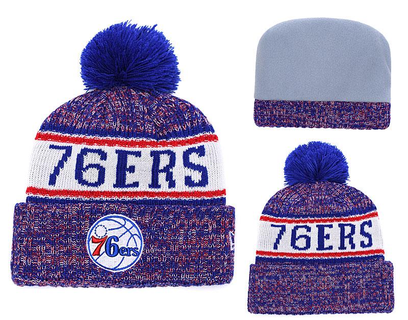 76ers Team Logo Royal Pom Knit Hat YD