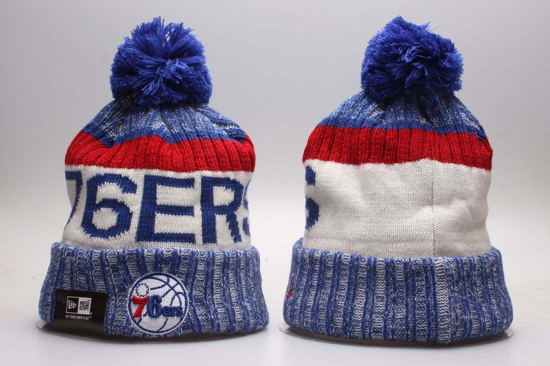 76ers Team Logo White Blue Wordmark Cuffed Pom Knit Hat YP