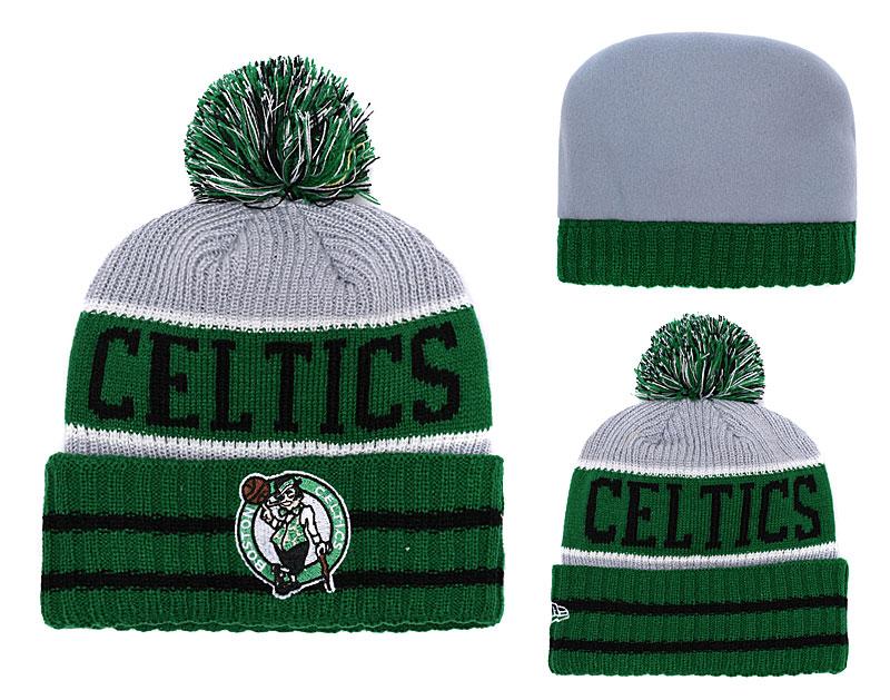 Celtics Fresh Logo Green Gray Pom Knit Hat YD