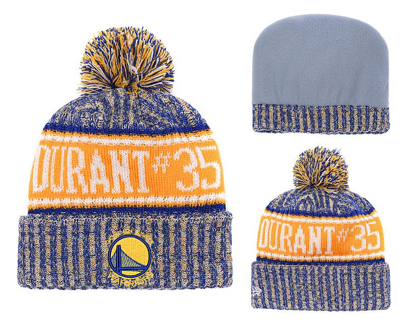 Warriors Fresh Fashion Logo Royal Yellow Pom Knit Hat YD