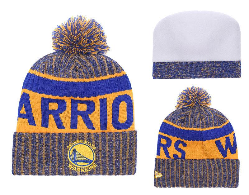 Warriors Fresh Logo Brown Royal Pom Knit Hat YD
