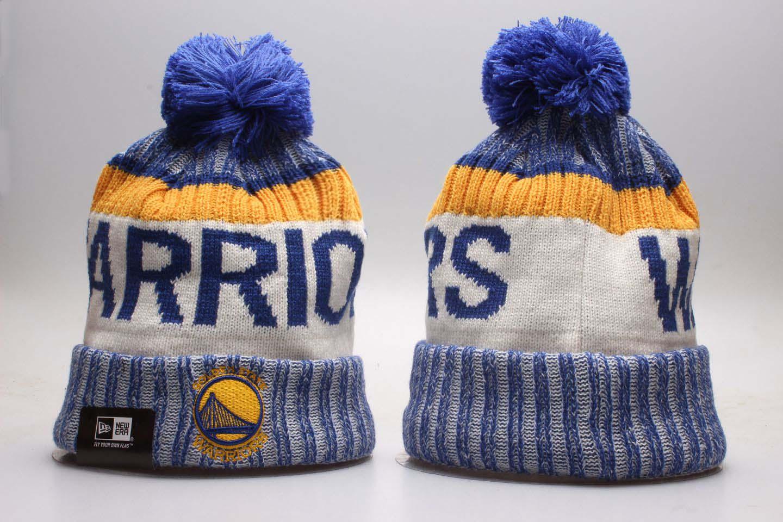 Warriors Fresh Logo Red Sport Pom Cuffed Knit Hat YP