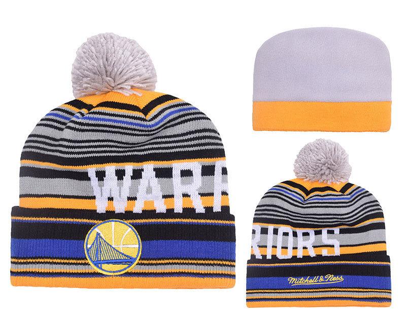 Warriors Fresh Logo Royal Black Pom Knit Hat YD
