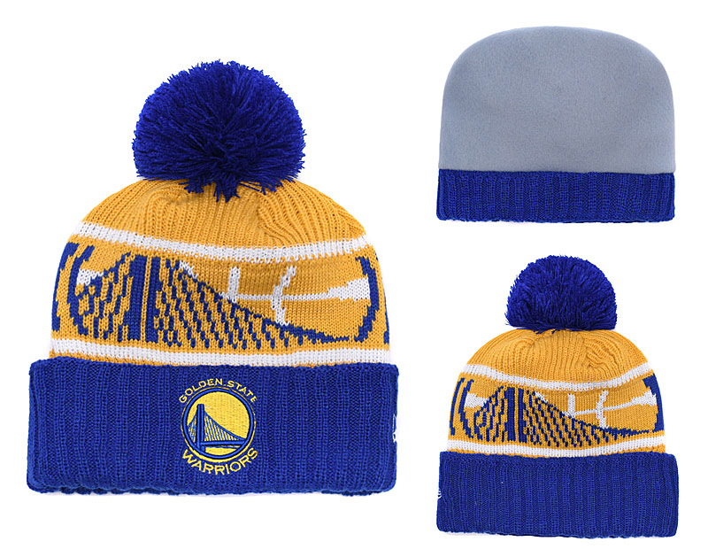 Warriors Royal Banner Block Cuffed Knit Hat With Pom YD