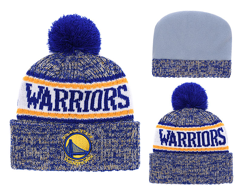 Warriors Team Logo Royal With Pom Knit Hat YD