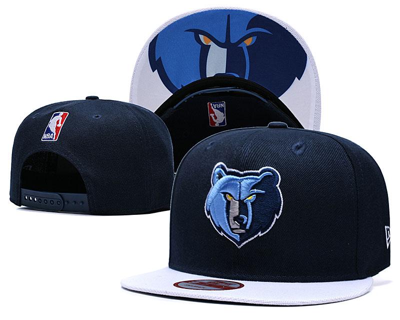 Grizzlies Team Logo Black Blue Adjustable Hat TX