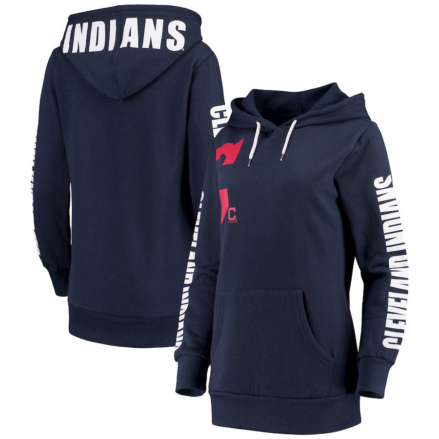 Cleveland Indians G III 4Her by Carl Banks Women's 12th Inning Pullover Hoodie Navy