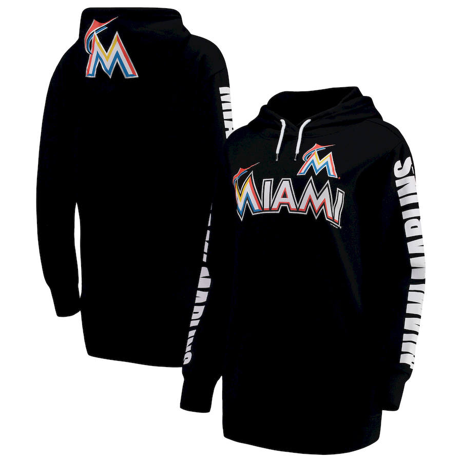 Miami Marlins G III 4Her by Carl Banks Women's Extra Innings Pullover Hoodie Black