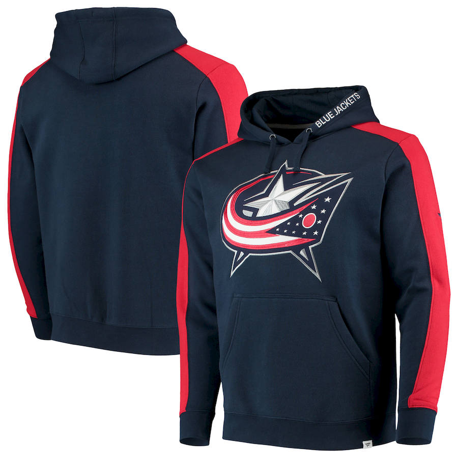 Columbus Blue Jackets Fanatics Branded Iconic Blocked Pullover Hoodie Navy & Red