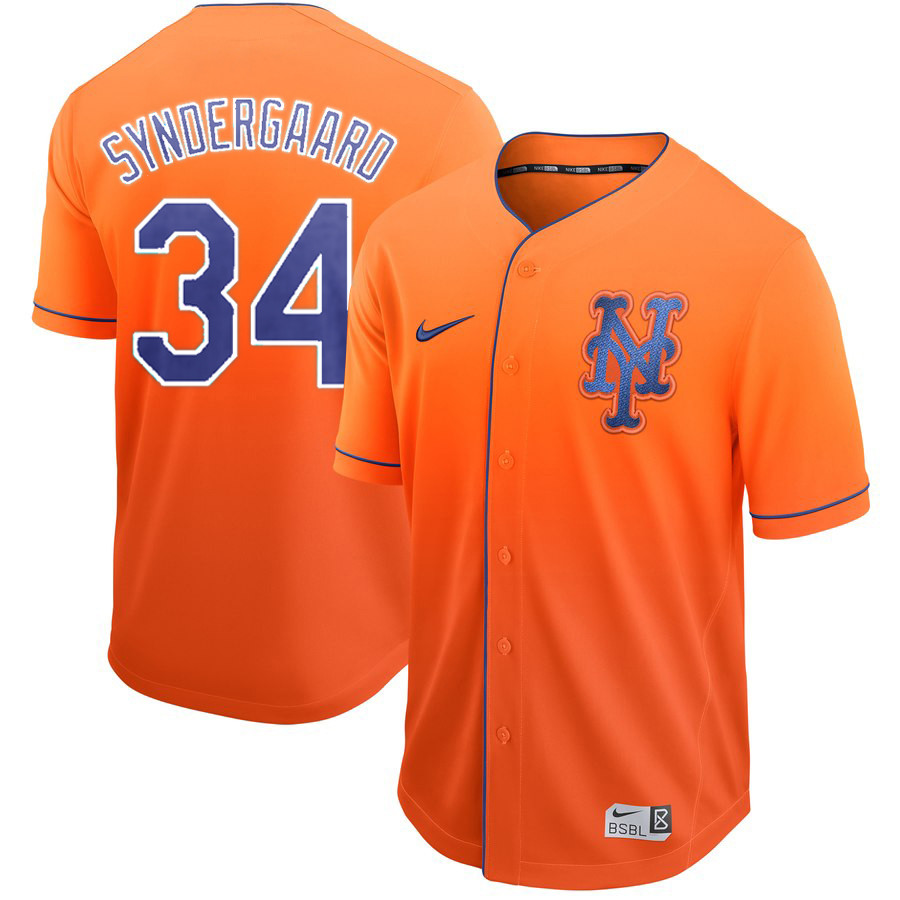 Mets 34 Noah Syndergaard Orange Drift Fashion Jersey