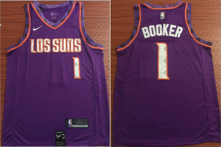 Suns 1 Devin Booker Purple City Edition Nike Swingman Jersey