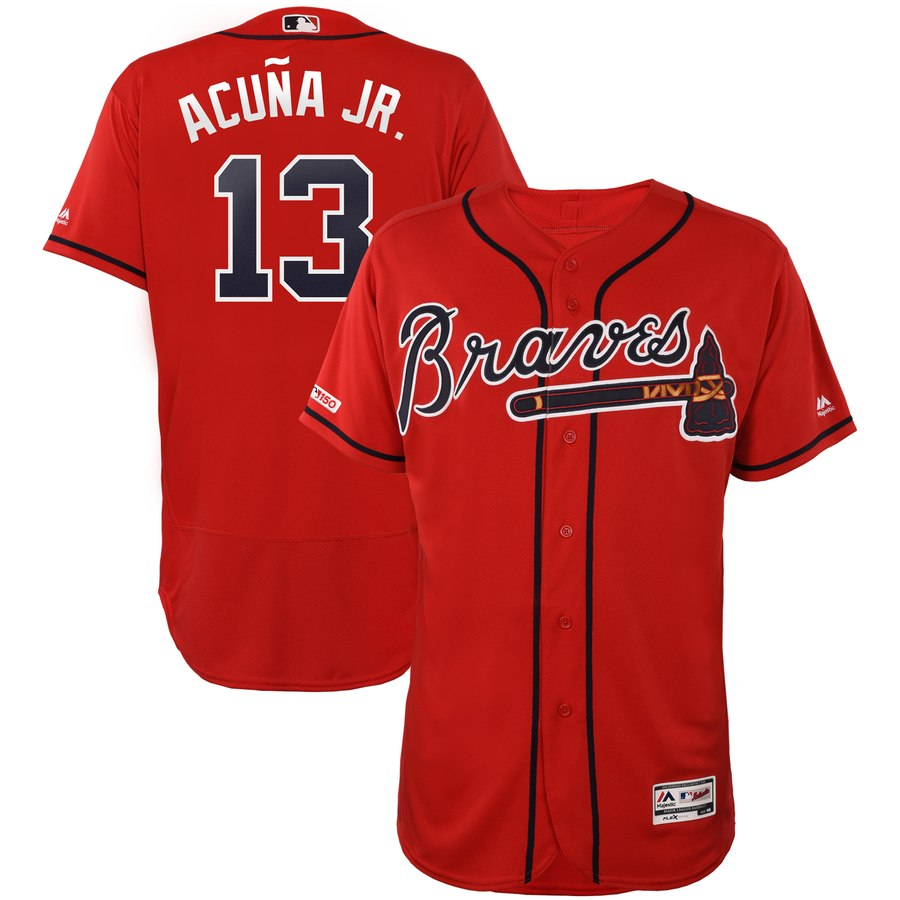 Braves 13 Ronald Acuna Jr. Red 150th Patch Flexbase Jersey