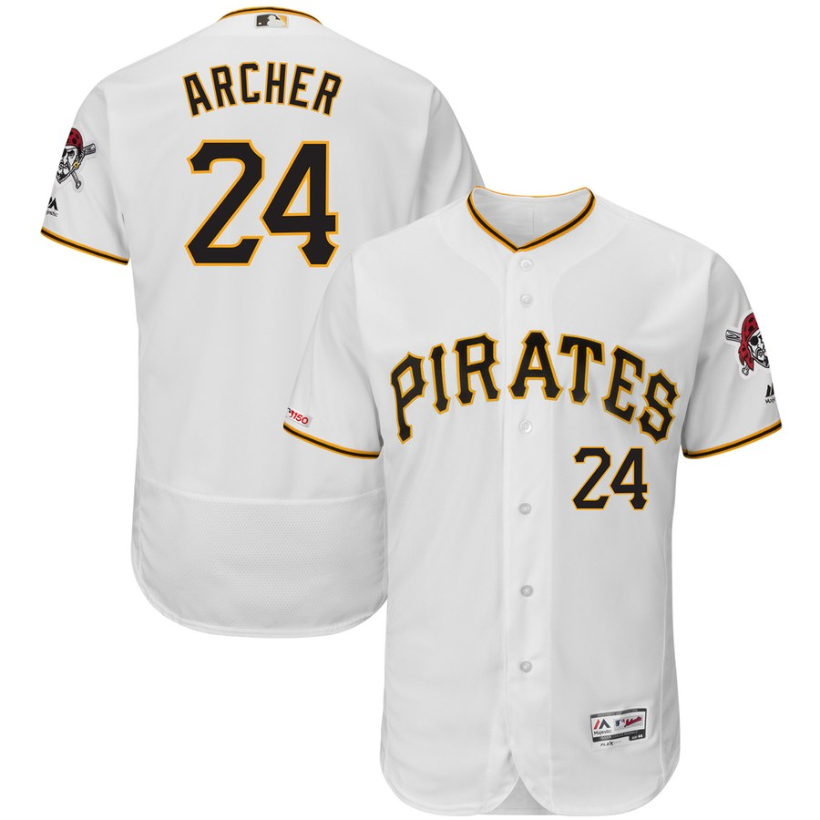 Pirates 24 Chris Archer White 150th Patch Flexbase Jersey