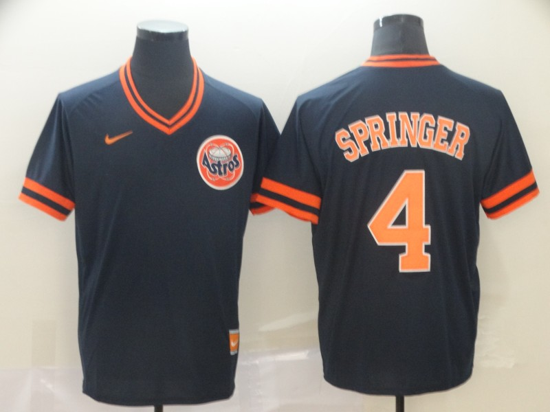 Astros 4 George Springer Black Throwback Jersey