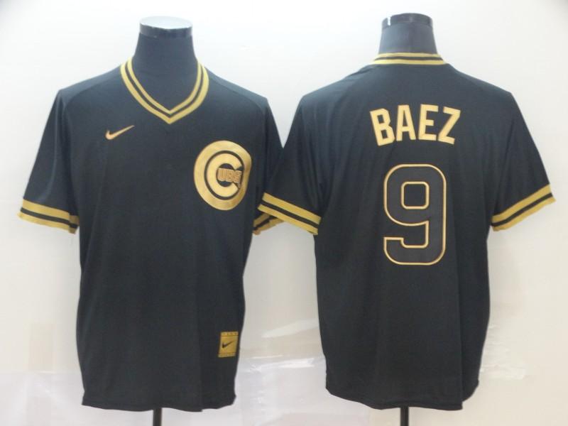 Cubs 9 Javier Baez Black Gold Nike Cooperstown Collection Legend V Neck Jersey