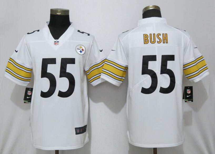 Nike Steelers 55 Devin Bush White 2019 NFL Draft First Round Pick Vapor Untouchable Limited Jersey