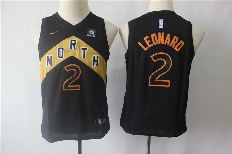 Raptors 2 Kawhi Leonard Black Youth City Edition Nike Swingman Jersey