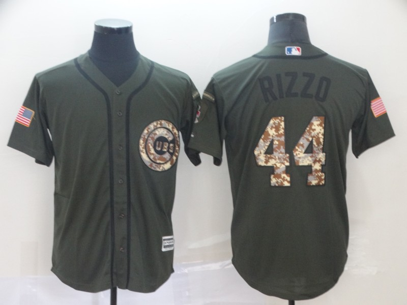 Cubs 44 Anthony Rizzo Olive Camo Salute To Service Cool Base Jersey