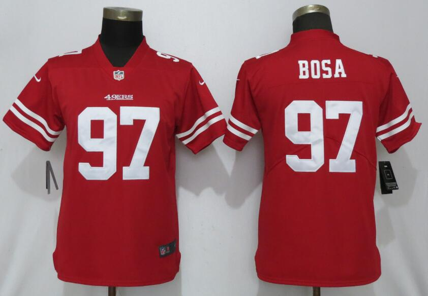Nike 49ers 97 Nick Bosa Scarlet Women 2019 NFL Draft First Round Pick Vapor Untouchable Limited Jersey