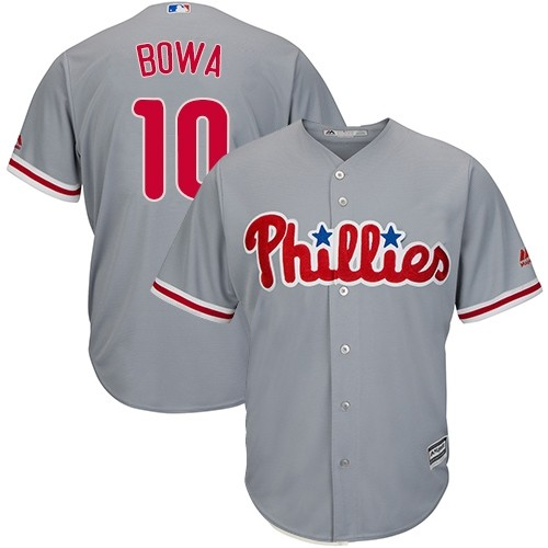 Phillies 10 Larry Bowa Gray Cool Base Jersey