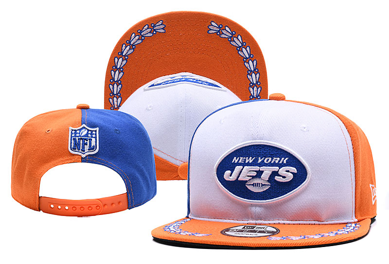 Jets Team Logo White Orange 2019 Draft Adjustable Hat YD