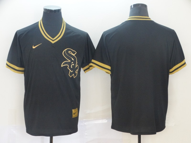 White Sox Blank Black Gold Nike Cooperstown Collection Legend V Neck Jersey