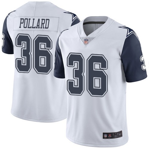 Nike Cowboys 36 Tony Pollard White 2019 NFL Draft First Round Pick Color Rush Limited Jersey