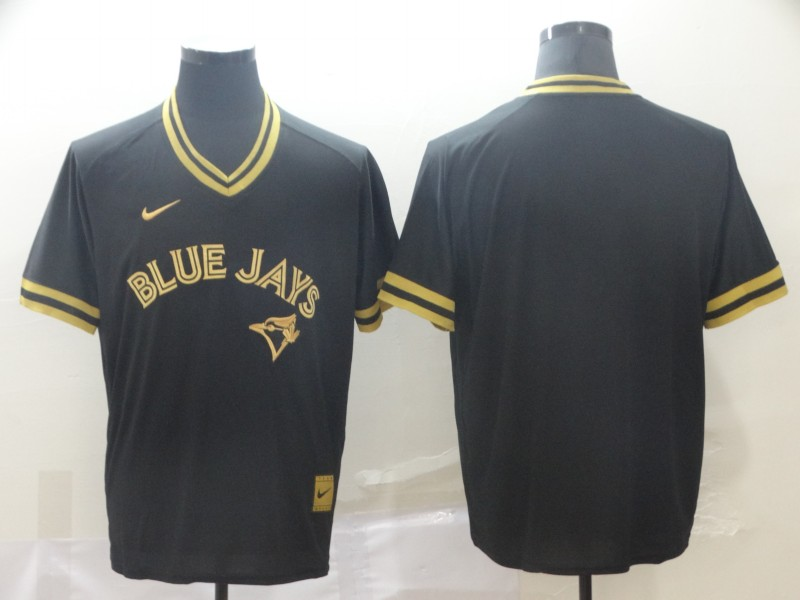 Blue Jays Blank Black Gold Nike Cooperstown Collection Legend V Neck Jersey