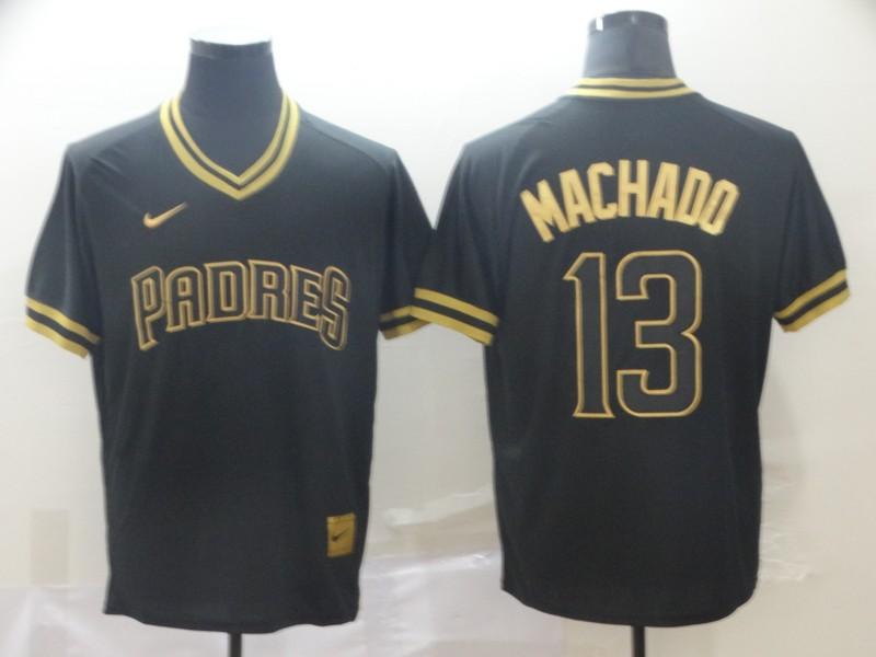 Padres 13 Manny Machado Black Gold Nike Cooperstown Collection Legend V Neck Jersey