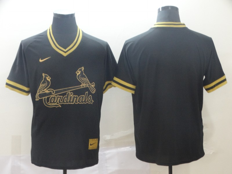 Cardinals Blank Black Gold Nike Cooperstown Collection Legend V Neck Jersey