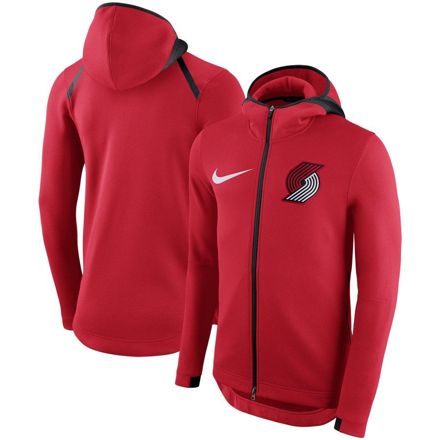 Portland Trail Blazers Nike Showtime Therma Flex Performance Full Zip Hoodie Red