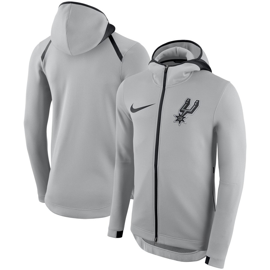 San Antonio Spurs Nike Showtime Therma Flex Performance Full Zip Hoodie Silver