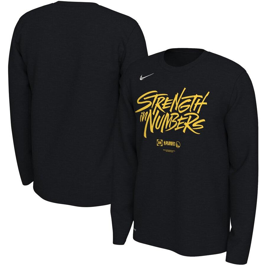 Golden State Warriors Nike 2019 NBA Playoffs Bound Team Mantra Dri FIT Long Sleeve T-Shirt Black