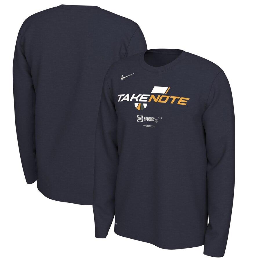 Utah Jazz Nike 2019 NBA Playoffs Bound Team Mantra Dri FIT Long Sleeve T-Shirt Navy