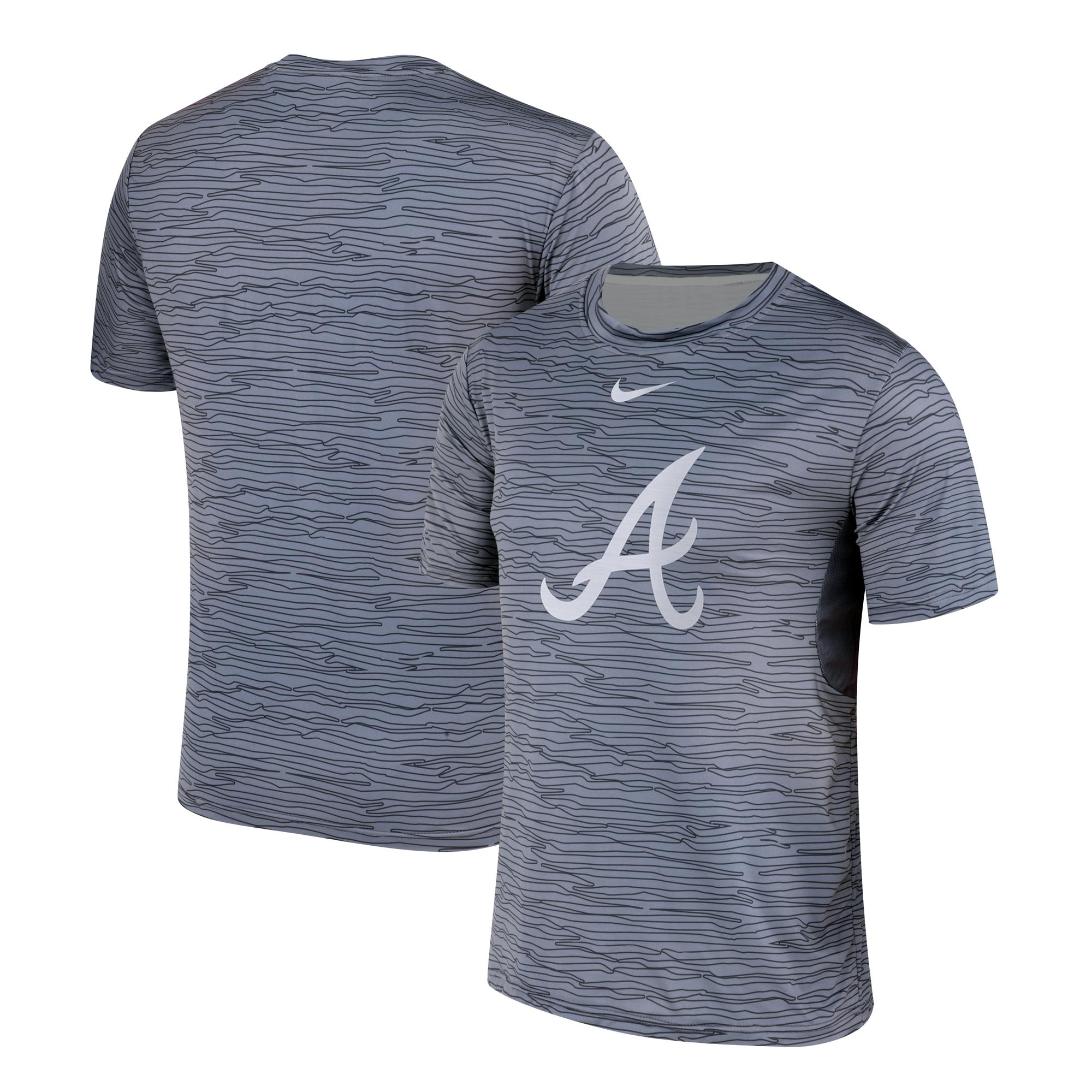 Nike Atlanta Braves Gray Black Striped Logo Performance T-Shirt