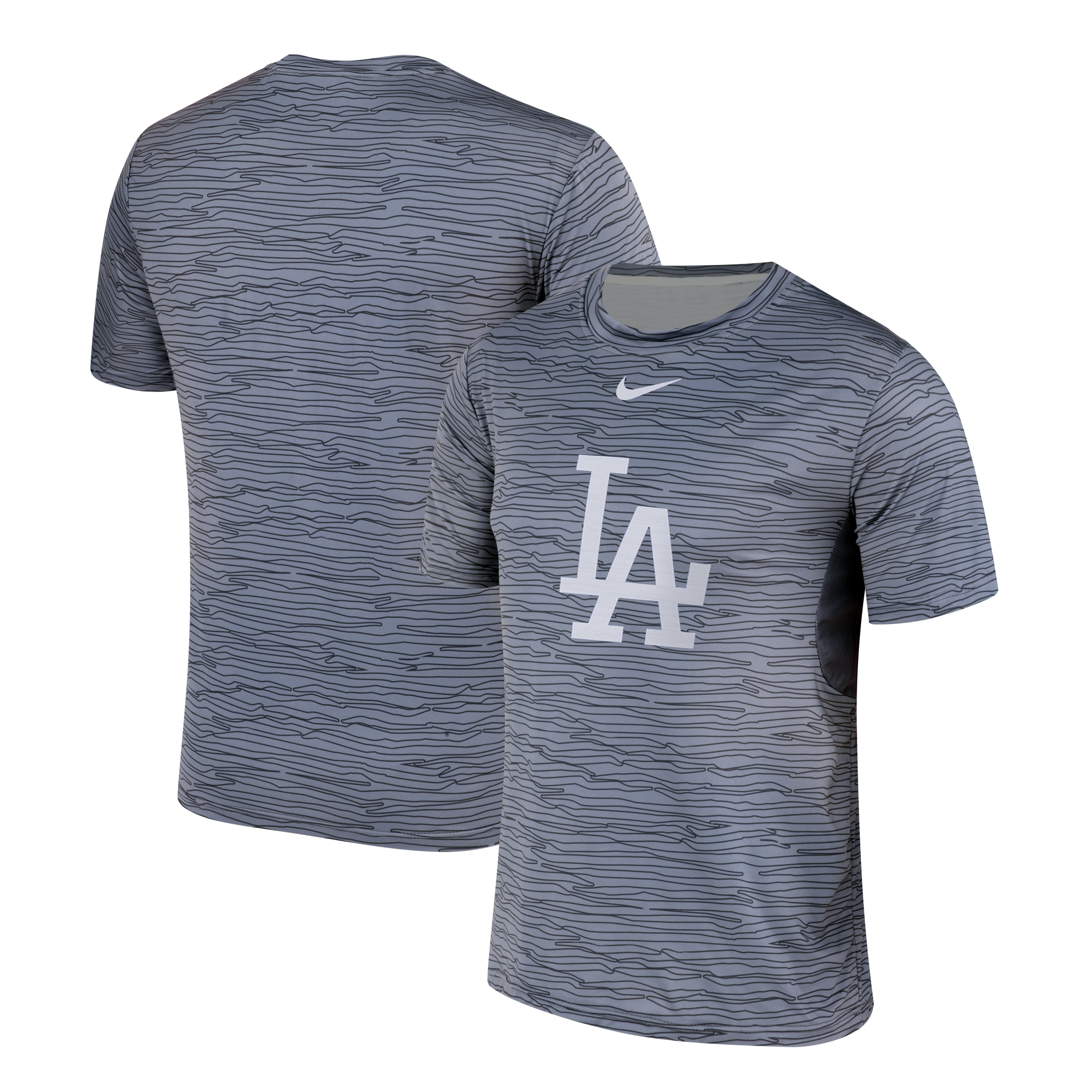 Nike Los Angeles Dodgers Gray Black Striped Logo Performance T-Shirt