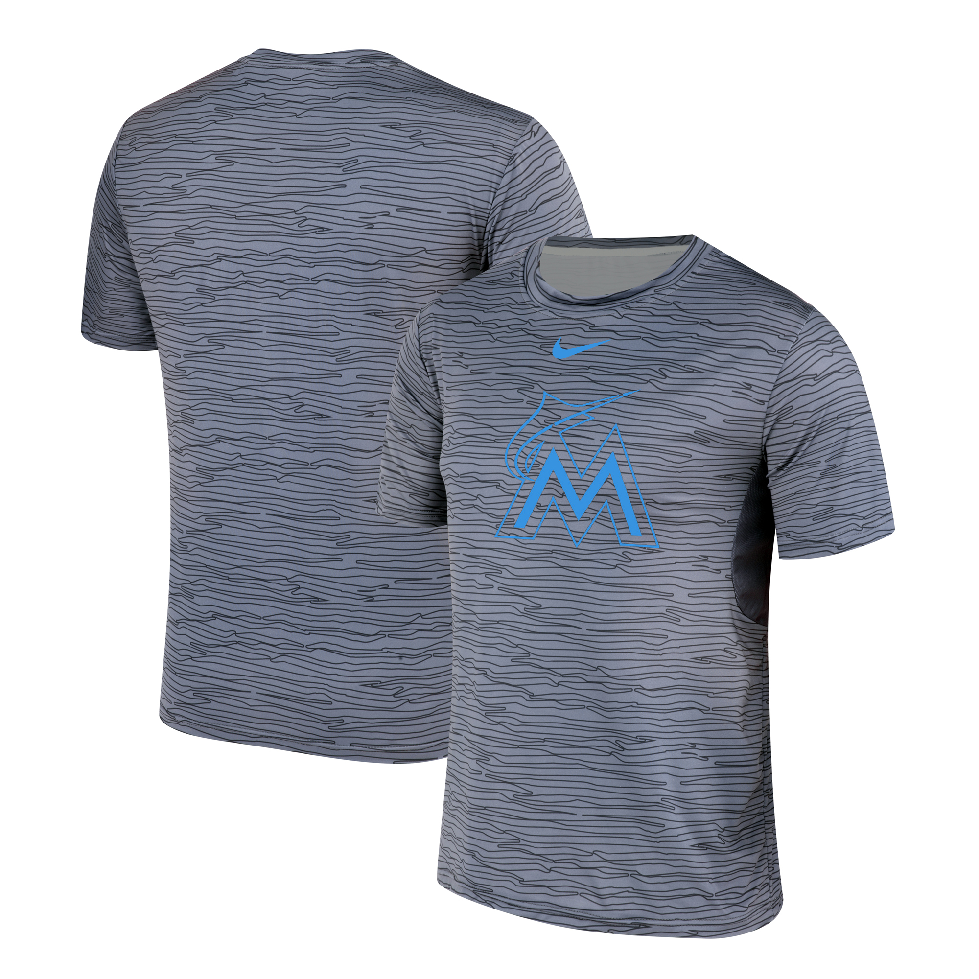 Nike Miami Marlins Gray Black Striped Logo Performance T-Shirt