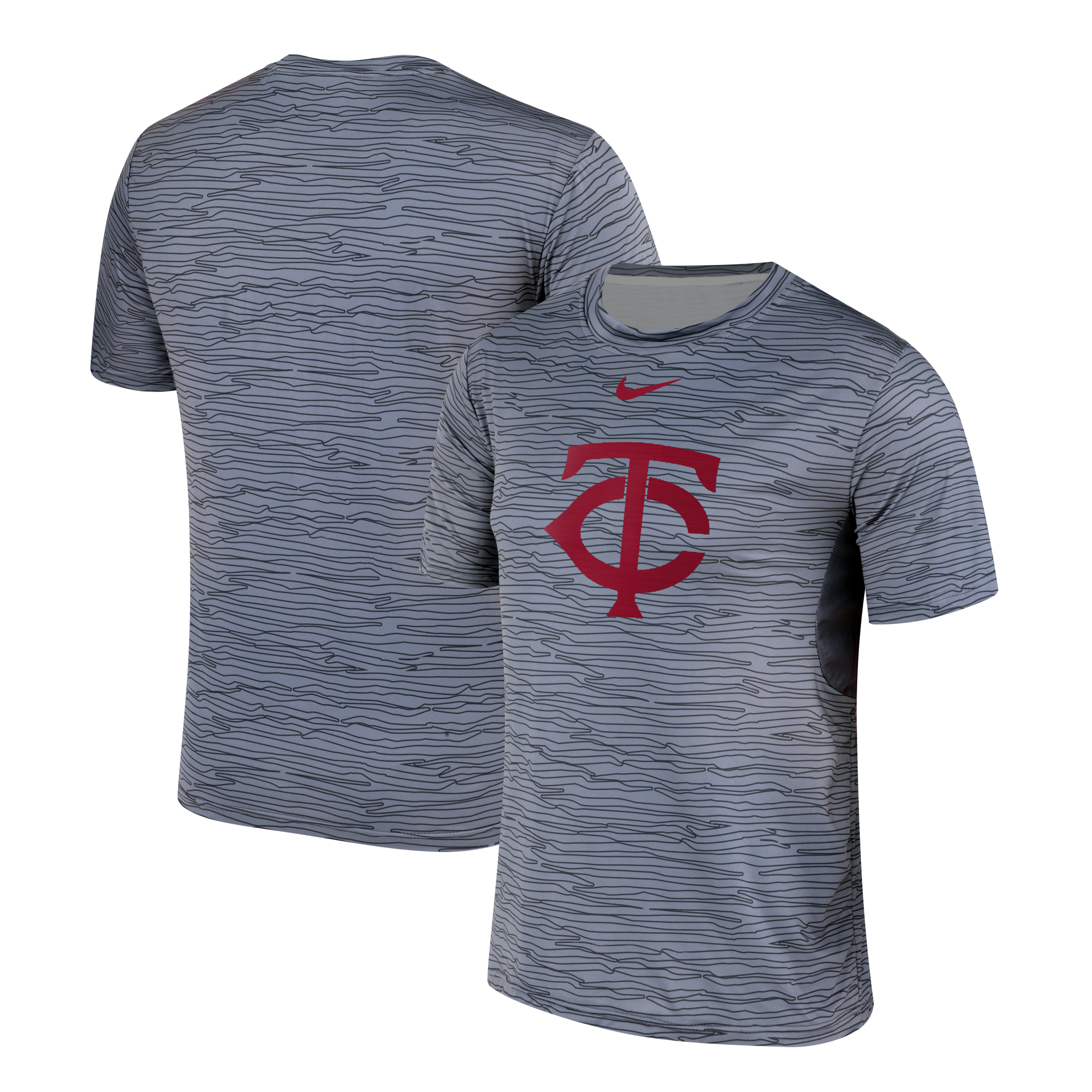 Nike Minnesota Twins Gray Black Striped Logo Performance T-Shirt